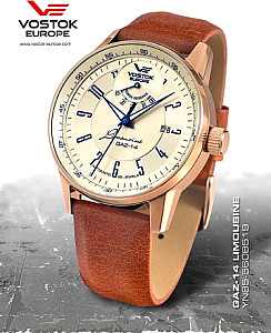 Vostok Europe GAZ 14 Automatic Power Reserve rosegold/yellow