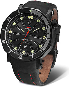 Vostok Europe Lunokhod 2 automatic version black / red incl. Silicon and leather strap
